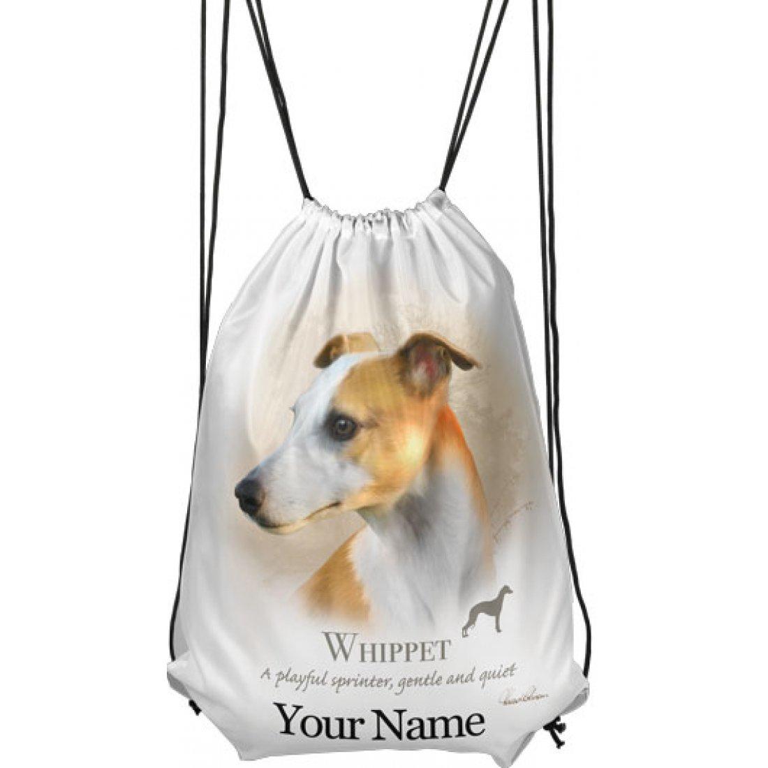 Personalised Whippet Drawstring Gym Bag