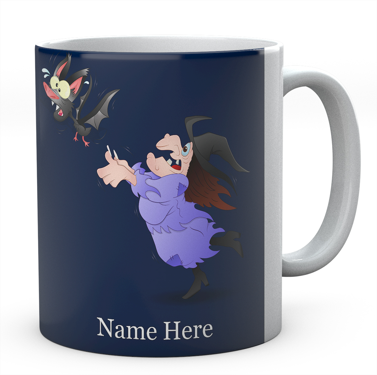 Personalised Witch And Bat Mug