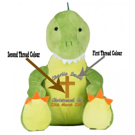 Personalised with Christening ImageInto Green Dinosaur(Teddy Bear).