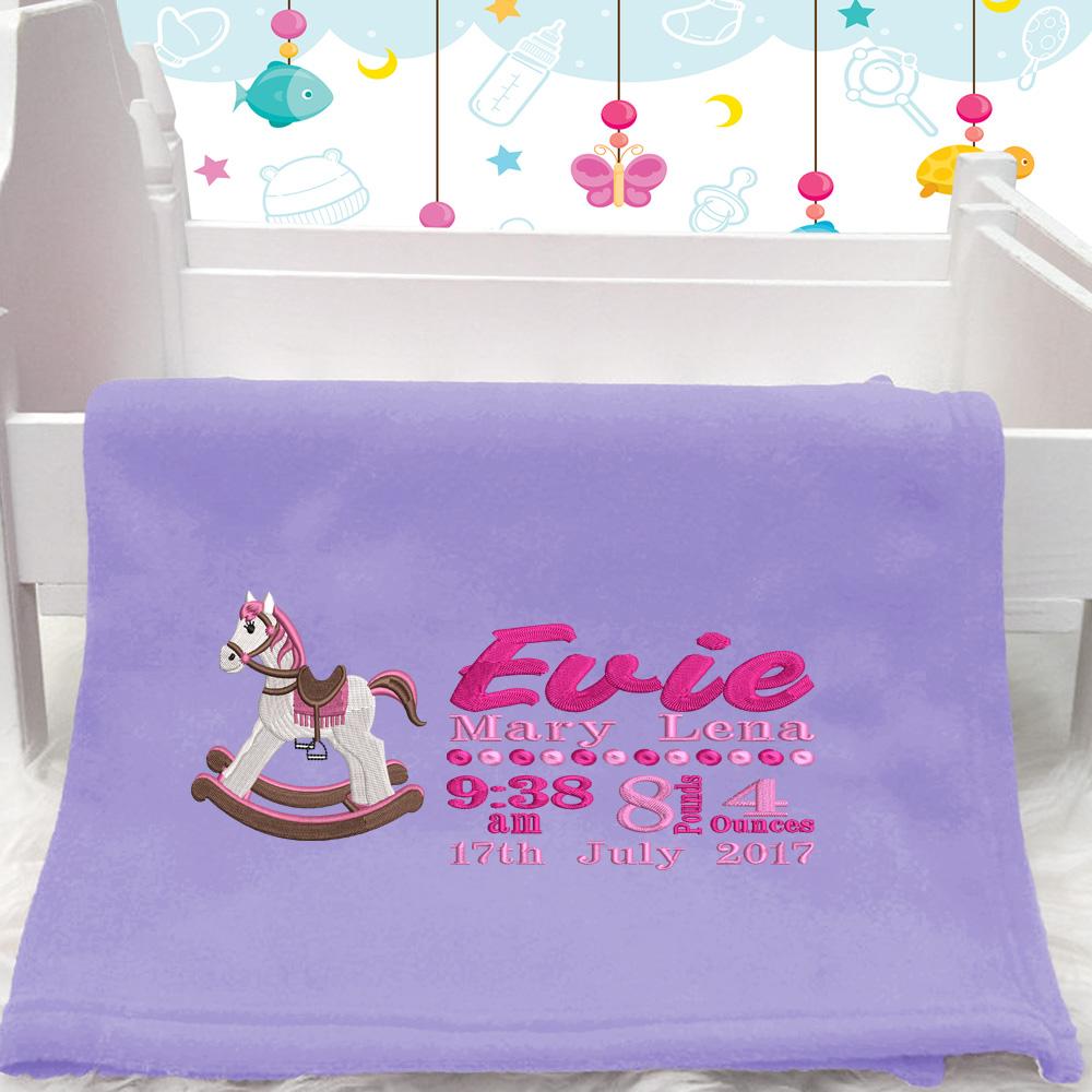 Pink Rocking Horse BabyBlanket With Birth Block