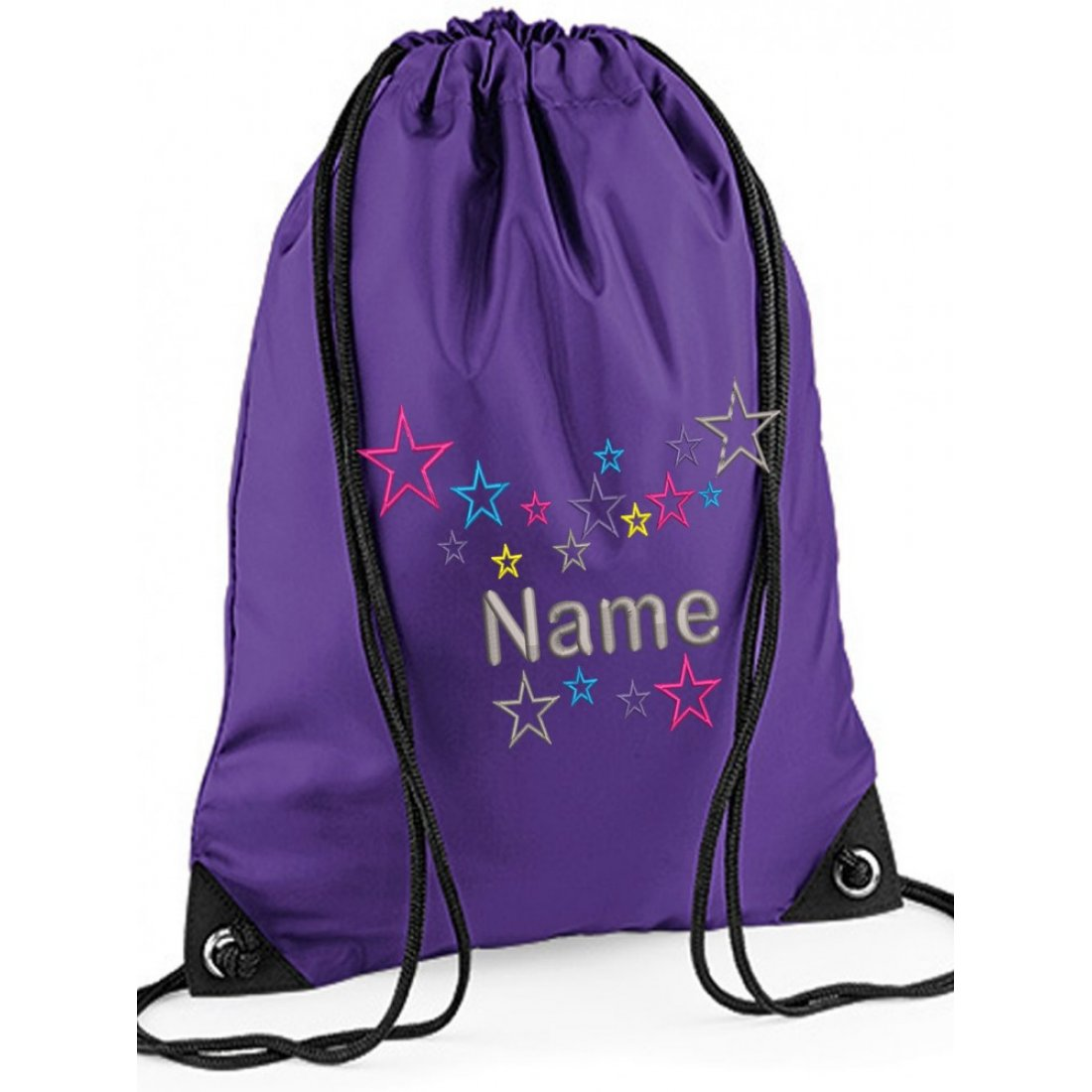 Personalised Embroidred Multi Grey Star Drawstring Gym bag