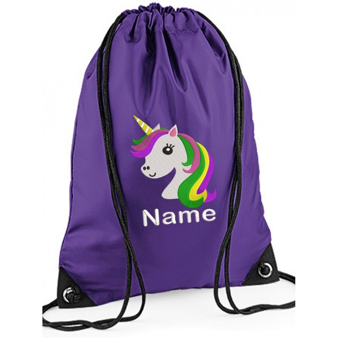 Personalised Embroidered Unicorn Drawstring Gym Bag