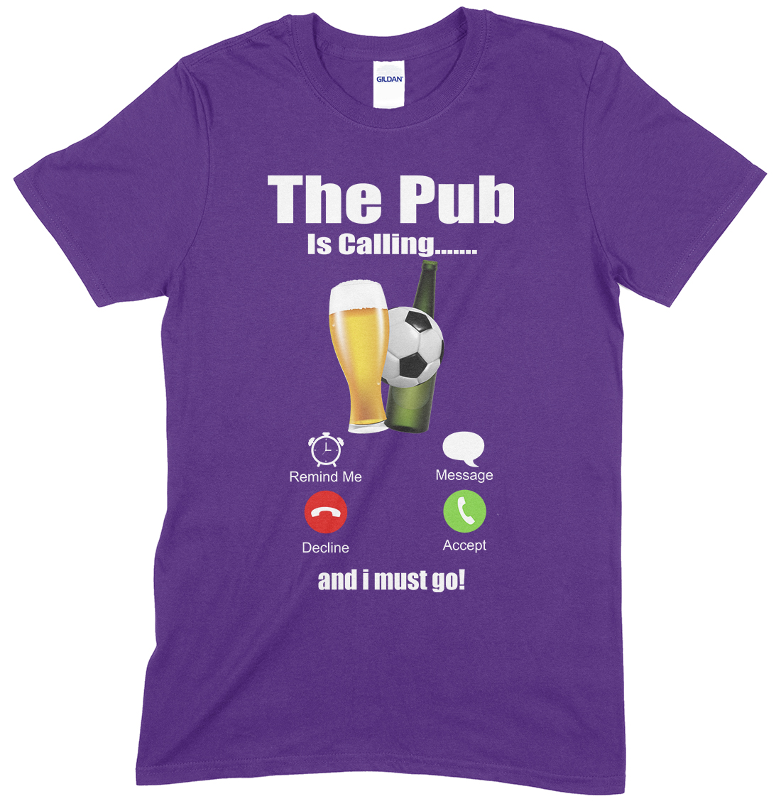 Adults Novelty Funny Unisex T Shirt,The Pub is Calling & I Must Go…(Football & Beer)
