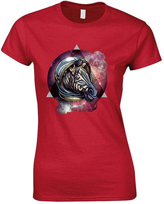 Cosmic Space Zebra,Novelty Funny Ladies T-Shirt