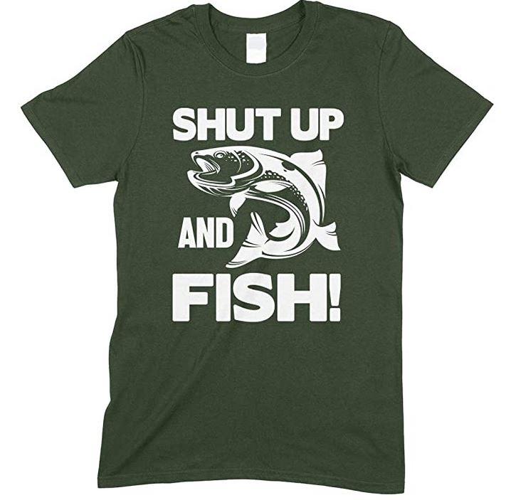 Shut Up And Fish - Adults Unisex Fishing T Shirt