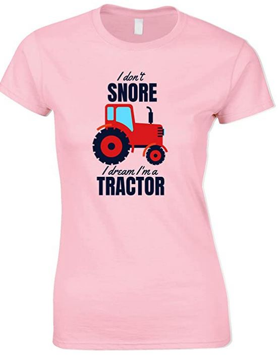 I Don't Snore I Dream I'm A Red Tractor Funny Ladies T Shirt