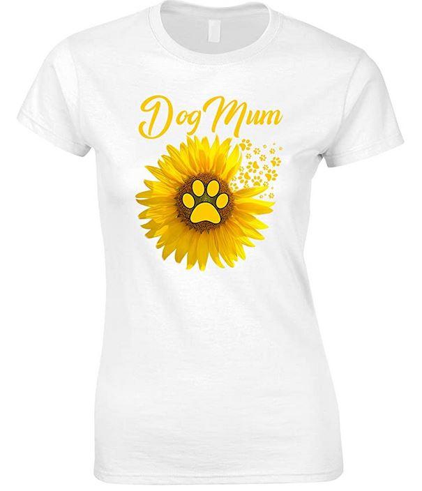 Sunflower Dog Mum-Ladies Fun T Shirt