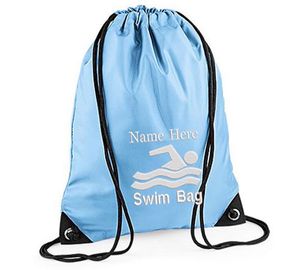 Personalised Embroidered Swim  Drawstring Gym Bag