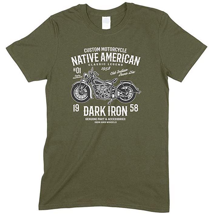 Motorcycle Native American Classic Legend Dark Iron- Old Indian Never Die Men's Unisex Fun T Shirt