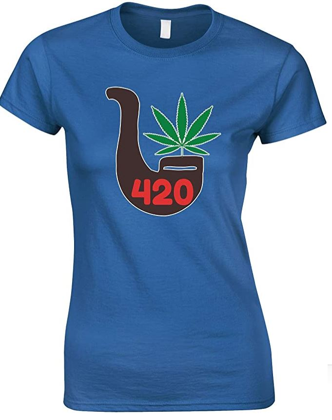 Weed 420 Pipe- Novelty Ladies T Shirt