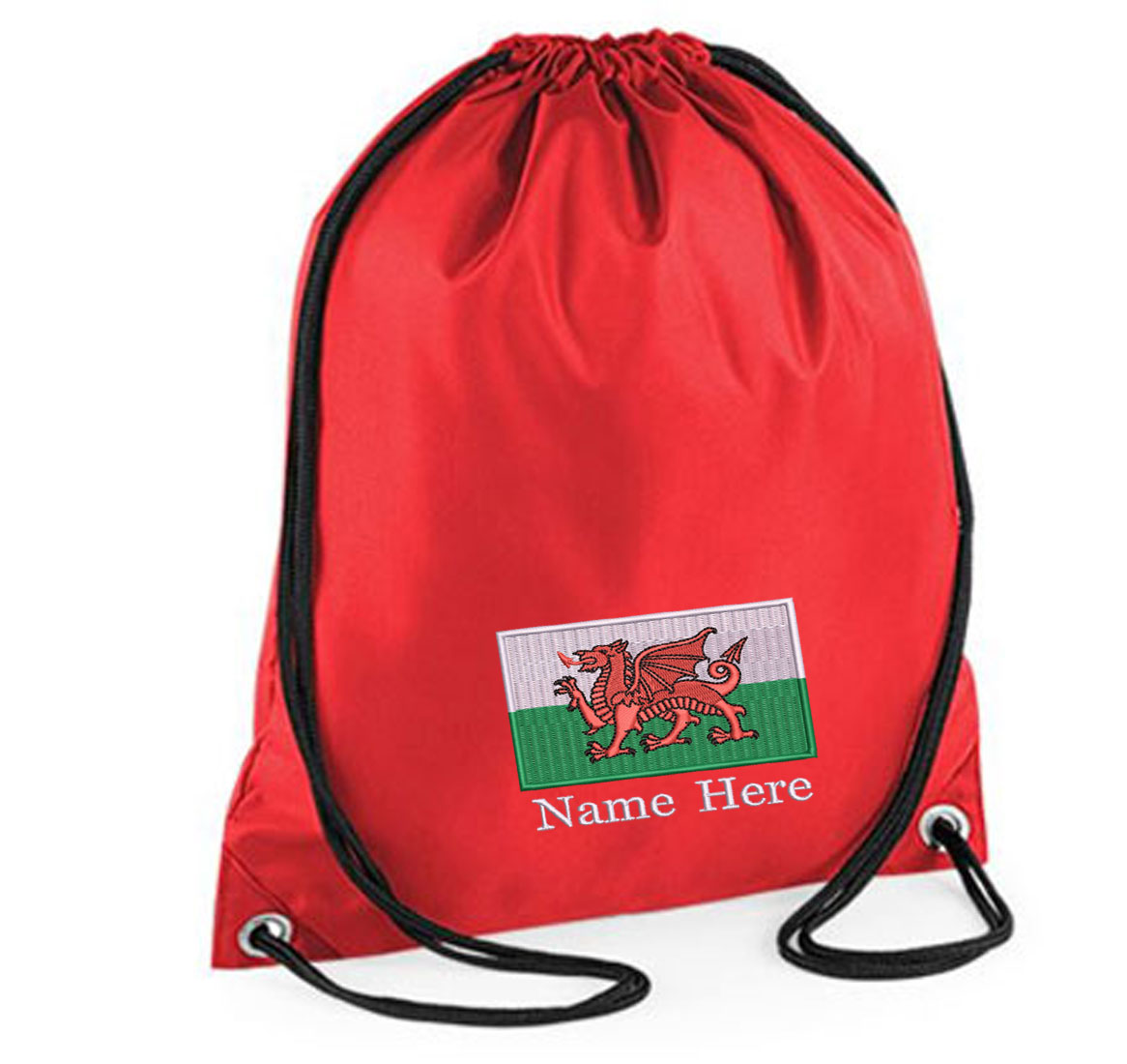 Personalised Embroidered Welsh Flag Drawstring Gym Bag.
