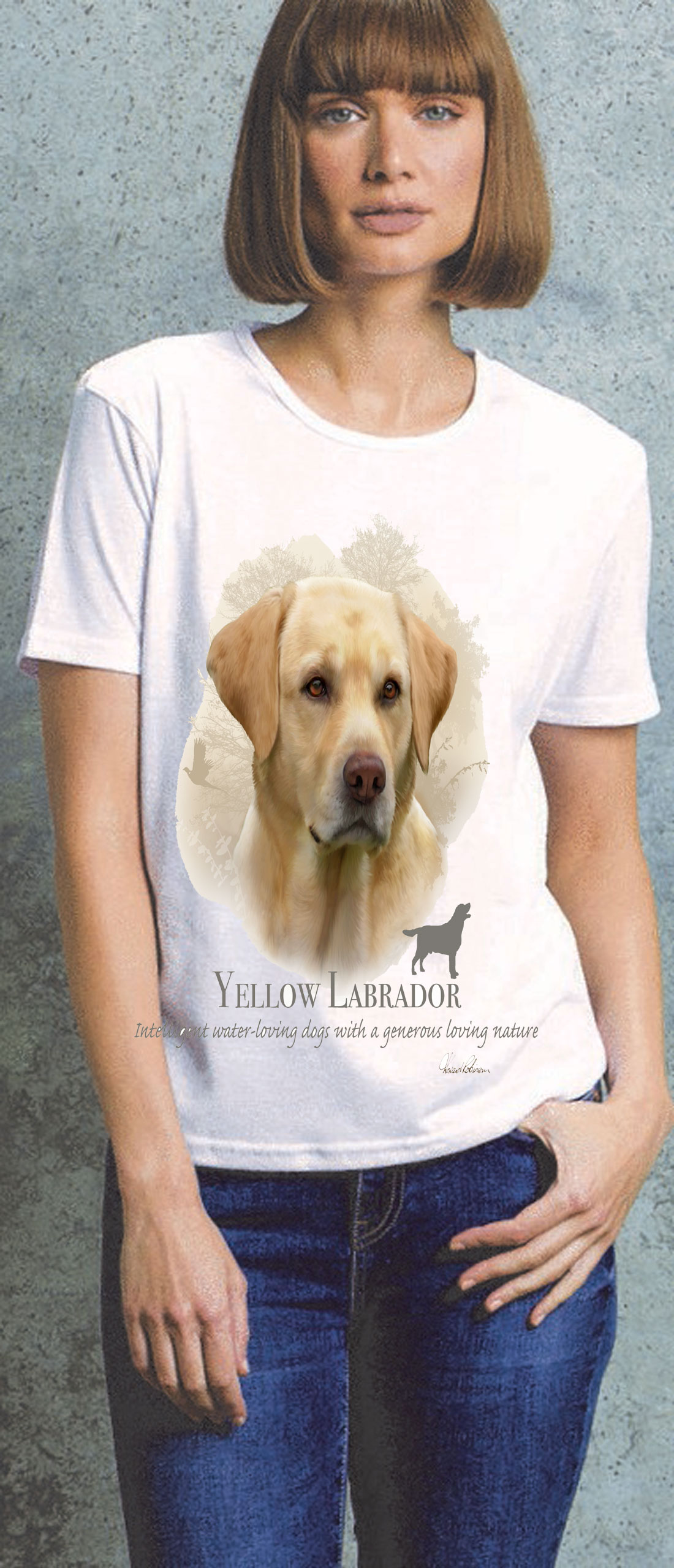 Yellow Labrador Ladies T Shirt