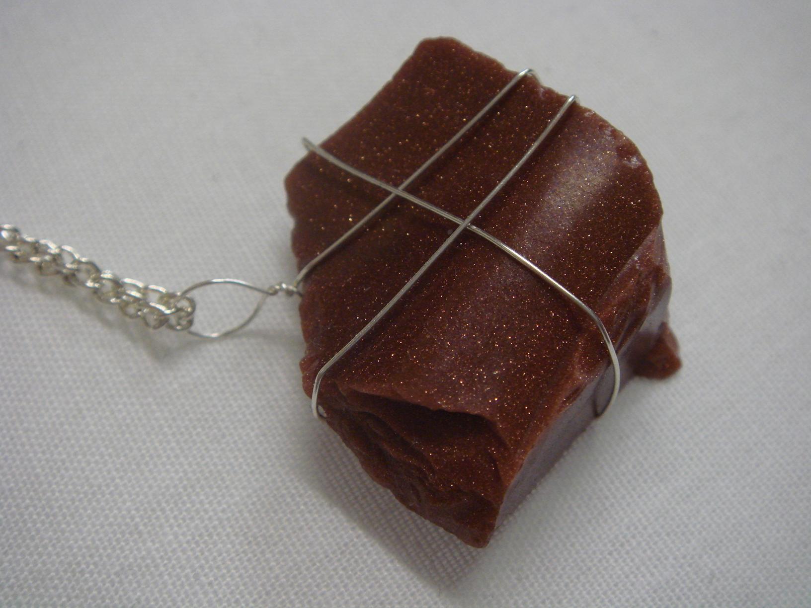 Handwrapped Goldstone Raw Gemstone Chunk Necklace
