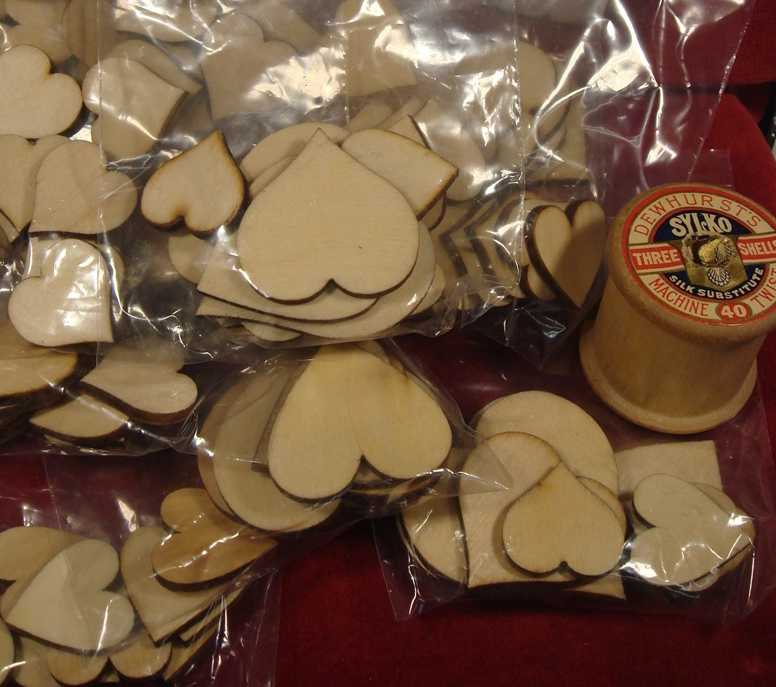 Bag of Small Wooden Laser Cut Hearts