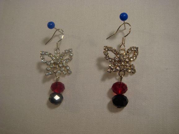 Handmade Crystal Butterfly Drop Earrings