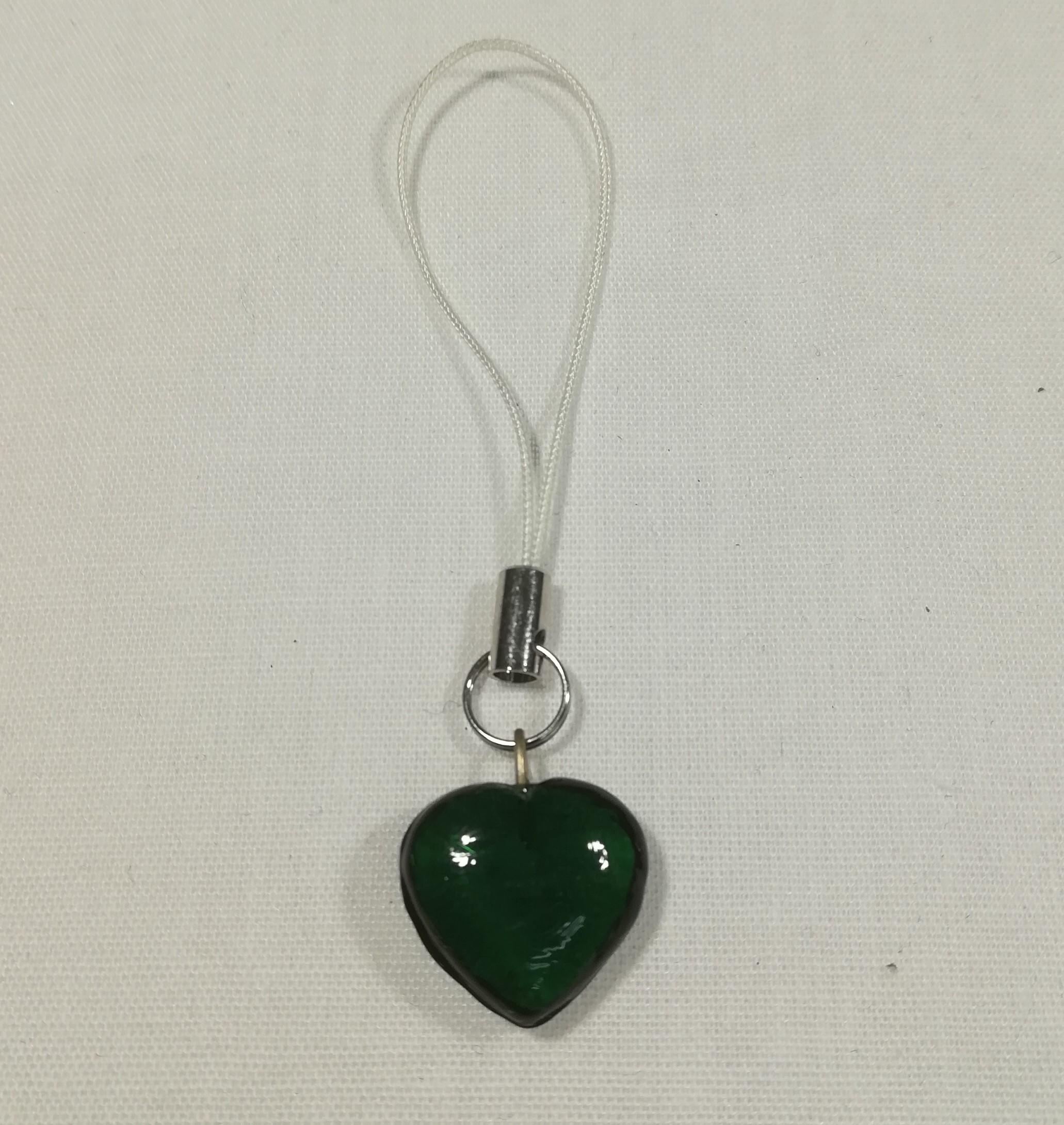 Handmade Mobile Phone Charm - Green Glass Heart