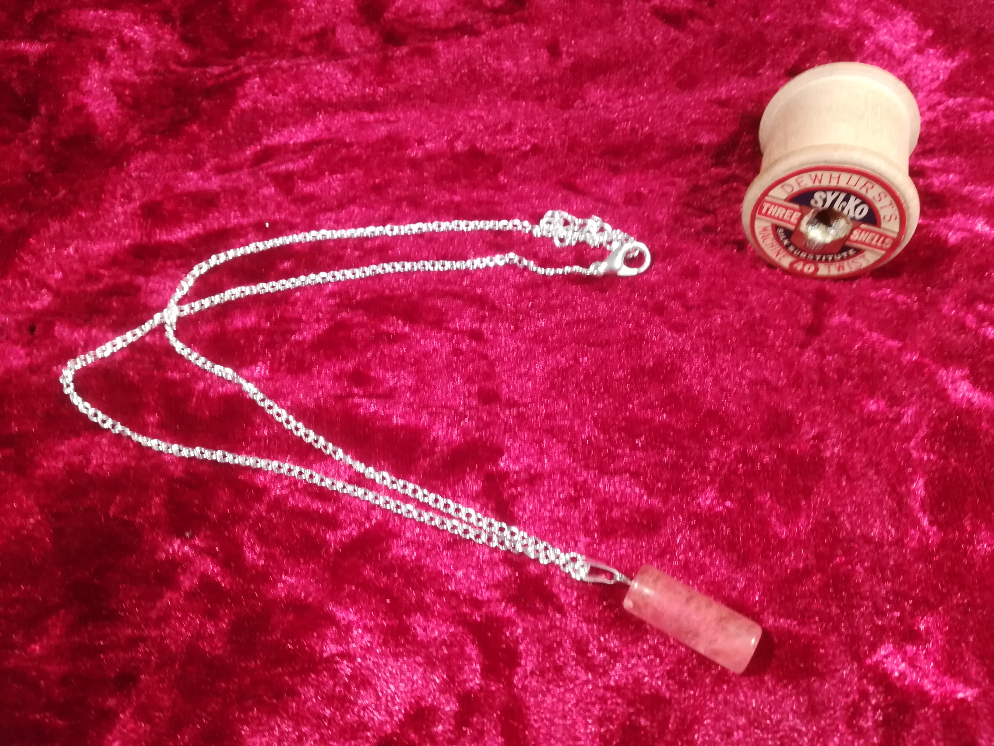 Handmade Rose Quartz Barrel Pendant Necklace